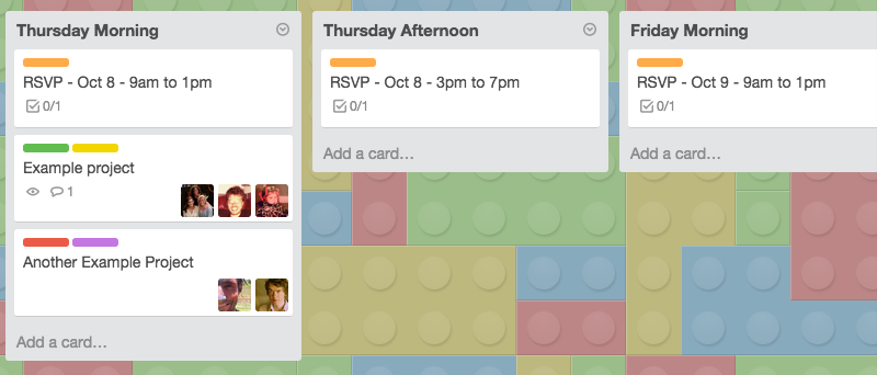 Section of the ALF Weekend Trello Board.