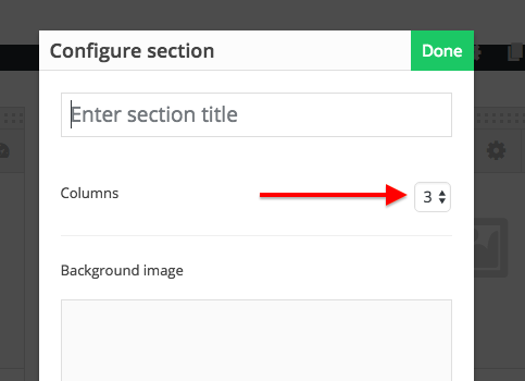 page builder section options pop up with arrow to columns