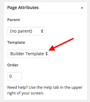 page attribute box changing the template