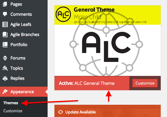 alc general theme selection from dashboard