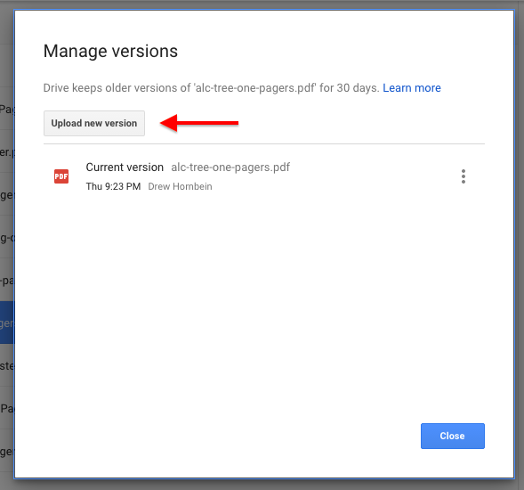 google drive manage version pop up