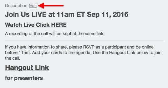 network call tutorial edit description